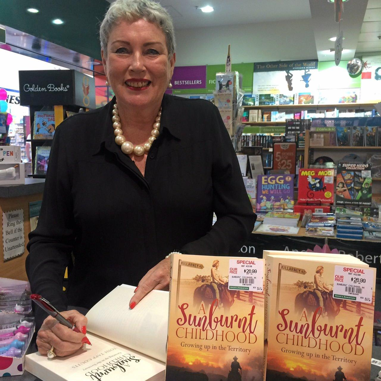 Toni Tapp Coutts at one of her many book signings so far following the release of her book A Sunburnt Childhood.