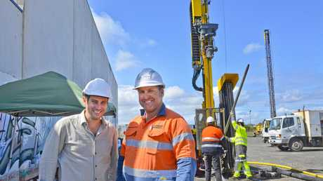 EXCITING WORKS: GeoExchange Australia managing director Yale Carden (left) and Geothermal Industries managing director Nigel de Veth at the site in Torrington yesterday.