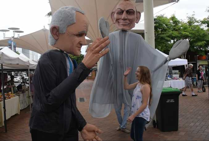STAR-STRUCK: Passers by rubbed shoulders with the prime ministerial puppets of Malcolm Turnbull and Tony Abbott.