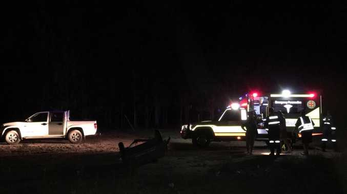 The RACQ CareFlight Rescue helicopter at the scene of a quad bike crash near Chinchilla.