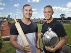 USING THE WHIP: ( From left ) My Kitchen Rules contestants Alex Ebert and Gareth Cochran in Toowoomba for the Weetwood Handicap . Friday 15 Apr , 2016.