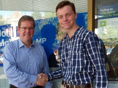 Member for Toowoomba South John McVeigh congratulates teenager Bradley Evans on his appointment as the Queensland Youth Parliament representative for Toowoomba South.