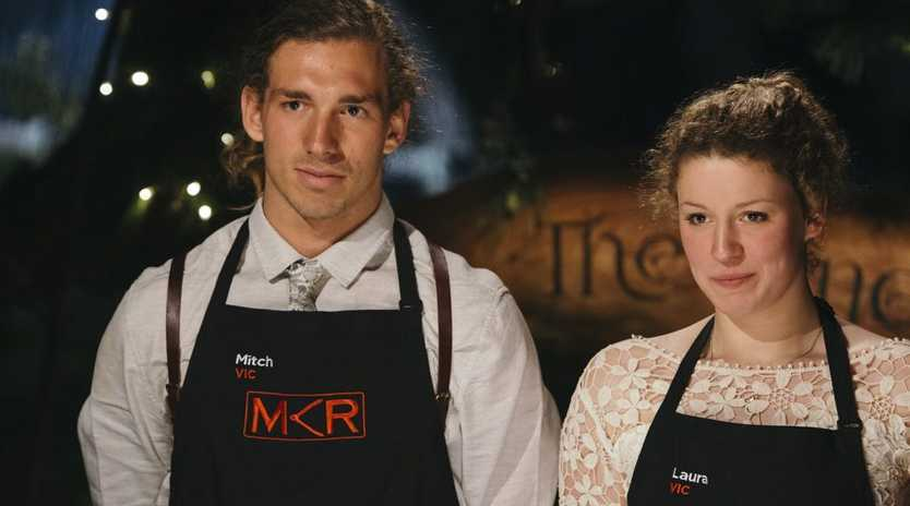 My Kitchen Rules contestants Mitch and Laura.