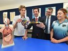 St James Lutheran College opening of new science and arts building - year 10 student Jude Foster explains some of the workings of a physics project to federal education minister Simon Birmingham, member for Hinkler Keith Pitt and year 12 student Mereana Patara. Photo: Alistair Brightman / Fraser Coast Chronicle