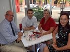 Rockhampton MP Bill Byrne, Labor shadow communications minister Jason Clare, Labor candidate for Capricornia and Keppel MP Brittany Lauga speak about the NBN in Rockhampton. Photo Michelle Gately / Morning Bulletin