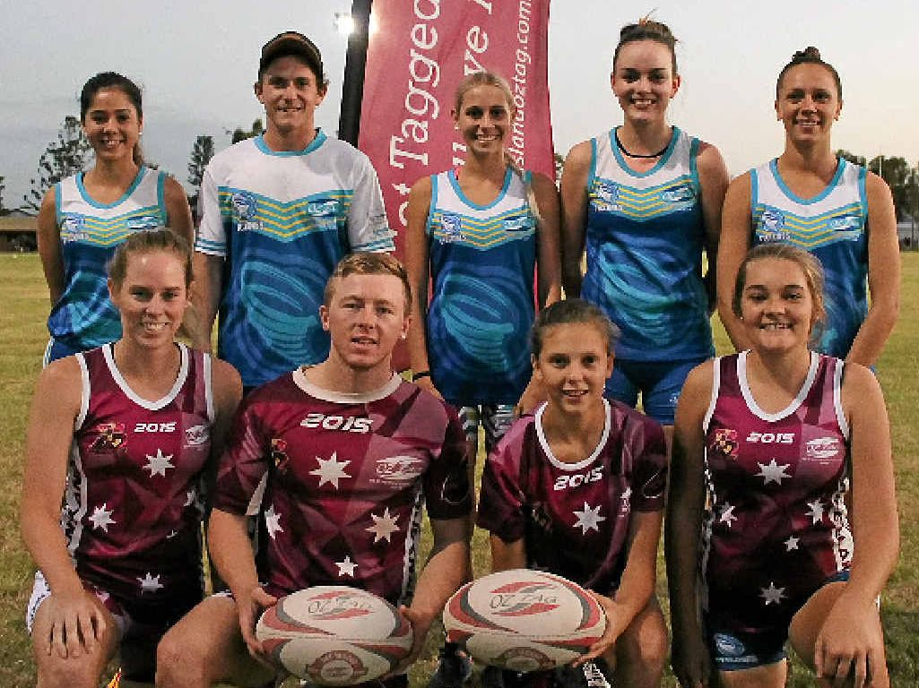 OZTAG ORIGIN: Rockhampton players selected in the Queensland oztag teams include (back row, left to right) Liane Stabb, Bradley Spreadborough, Tiana O'Rourke, Kirsty Gorman and Briana Shillingsworth; (front row, from left) Tiana Cunningham, Nathaniel Lehr, Mooki House and Amber Shephard.