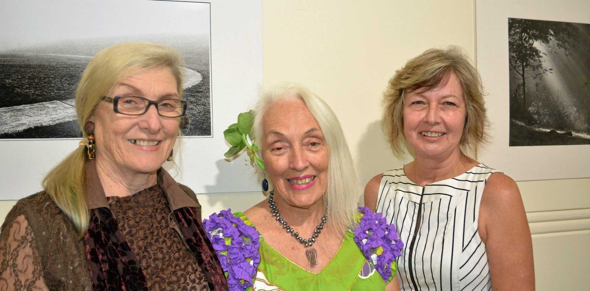 Official opening of the Seasons of Mist exhibition at St Vincent's Private Hospital. Making the most of the Season of Mists art exhibition are St Vincent's Hospital Archivist Delene Cuddihy, Jennifer Wright (Summers) and St Vincent's Hospital Volunteer Arts Program Co-ordinator Maryika Welter.