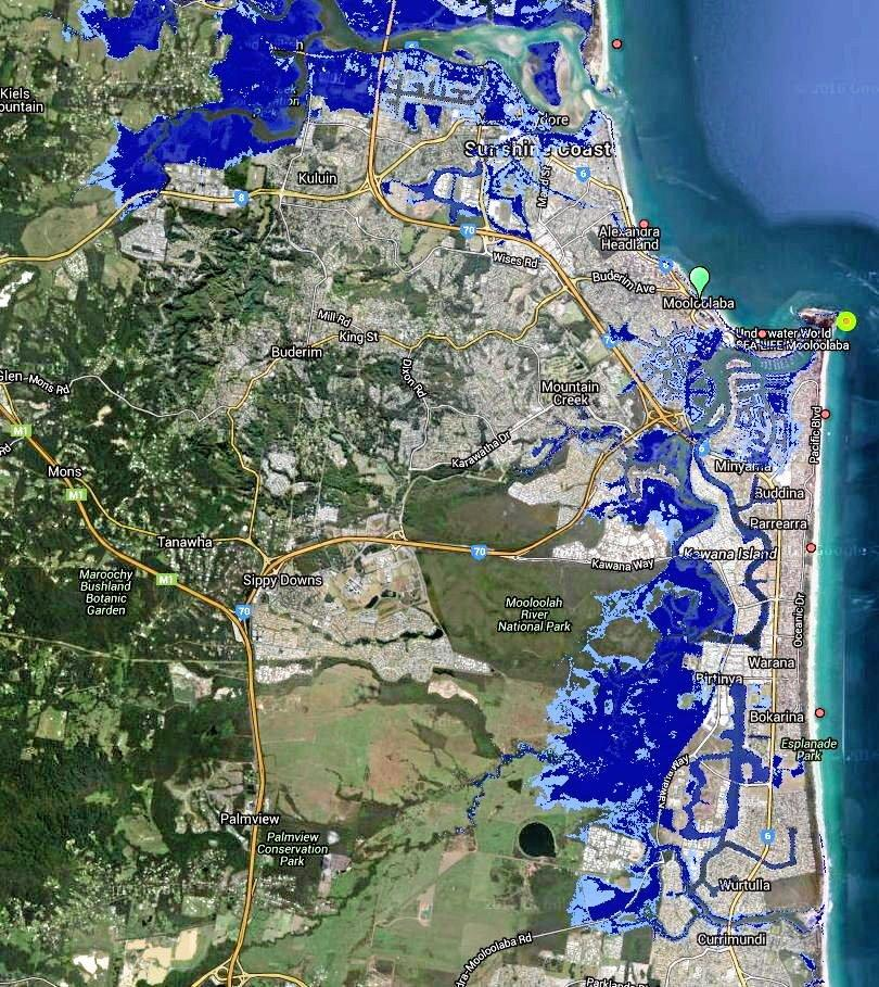 How Kuluin, Maroochydore, Alexandra Headland, Mooloolaba, Kawana down to Currimundi will look by year 2100 if a global agreement was reached to drastically reduce global emissions.