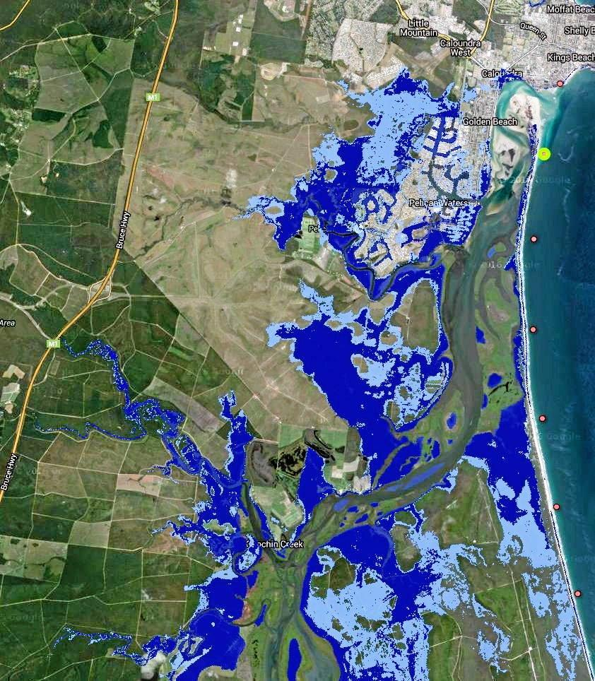 How Pelican Waters, Golden Beach, Caloundra, Caloundra South and further south would be affected in the year 2100 if a global agreement was reached on dramatic reductions in global emissions.