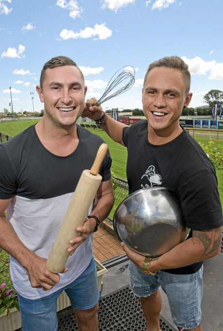 USING THE WHIP: My Kitchen Rules contestants Alex Ebert (left) and Gareth Cochran in Toowoomba for the Audi Centre Toowoomba Weetwood event.