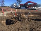 The site of a sod turning ceremony to mark the start of construction on the Toowoomba Second Range Crossing.