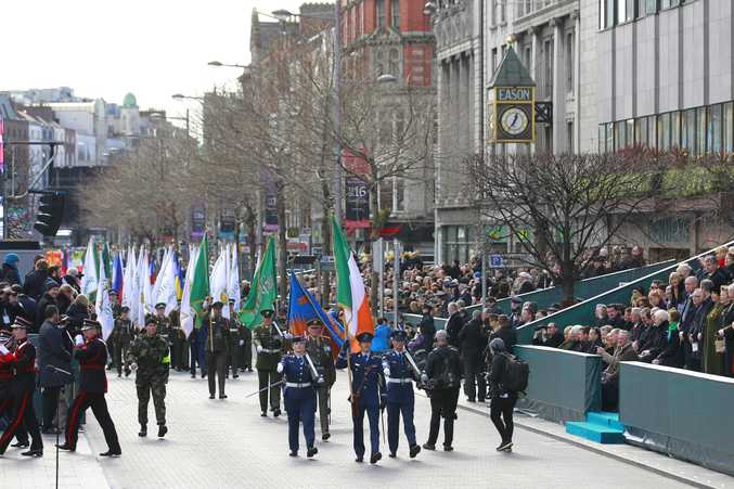 Thousands of soldiers march solemnly through the streets of Dublin, Ireland last month as  people took part in the 100th anniversary of Ireland's Easter Rising against Britain, a doomed rebellion that reduced parts of the capital to ruins and inspired the country's eventual independence.