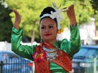 Songkhan Festival volunteer Pele Court during the festival's parade. Photo Daniel Harkin / Daily Mercury
