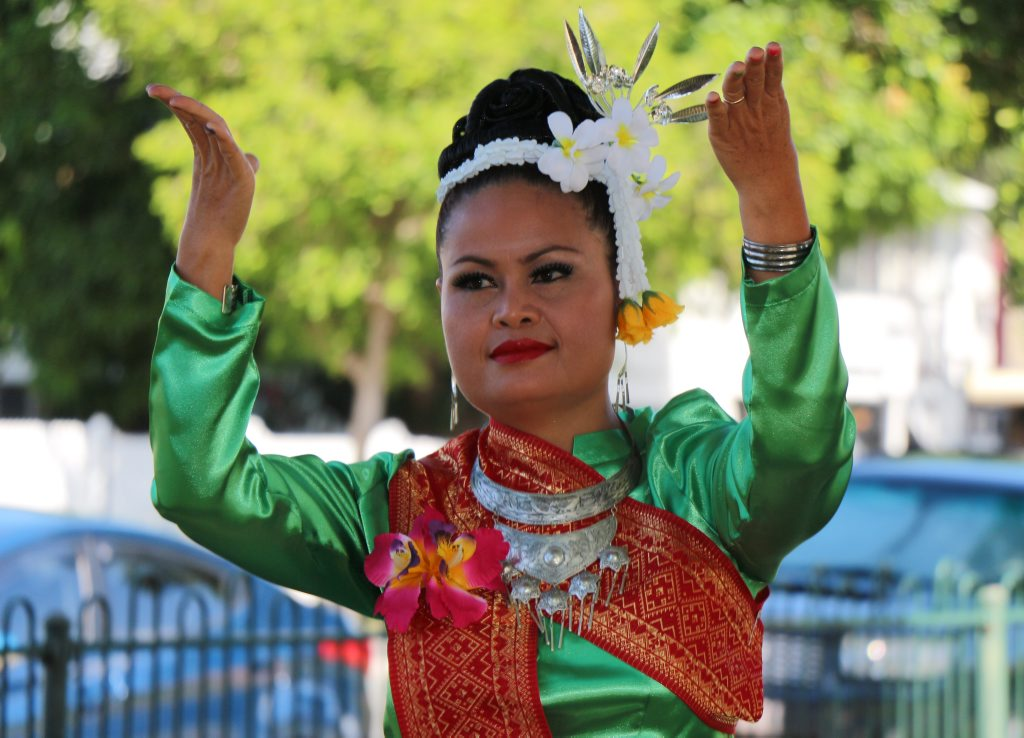 Image for sale: Songkhan Festival volunteer Pele Court during the festival's parade. Photo Daniel Harkin / Daily Mercury