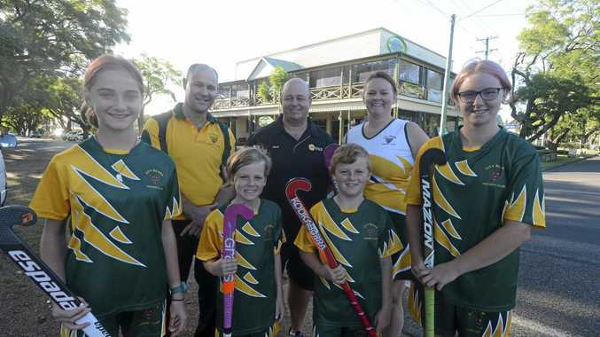 NEW CONNECTIONS: Grafton City Bears players Kate Atkin, Charlie and Joseph Nilon and Sally Atkin with club president Peter Fysh, new sponsor Village Green's Mark Knott and club secretary Renee Nilon.