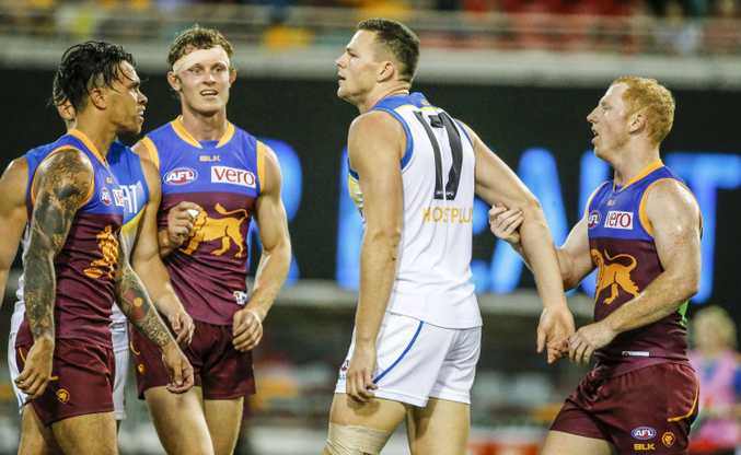Brisbane Lions players remonstrate with Steven May after his hit on Stefan Martin. Photo: AAP Image
