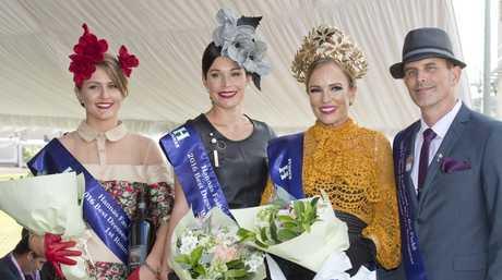 Winners of fashions on the field Natalie Zielke , Karen Wade, Leigh Quinlan and Craig Blackburn.