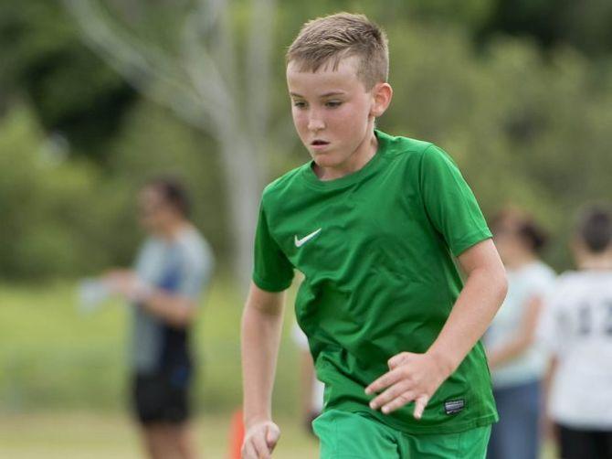 Carter Bruton. - Junior Soccer. Photo Paul Braven / The Observer
