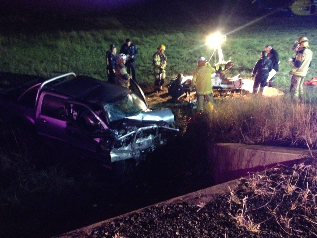 A 17-year-old Warwick man was taken to the Princess Alexandra Hospital after his car crashed into a concrete barrier early on Saturday morning.