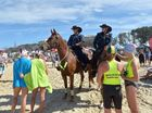The Aussies at Maroochydore Beach.Sgt. Roy Mientjes on Mr. Pickles Constable Dave Masters on CJ on Patrol at the Aussies in Maroochydore.Photo: Warren Lynam / Sunshine Coast Daily