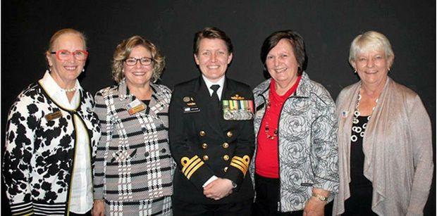 PROFESSIONAL WOMEN: Helen Horan, Kathryn Galea, Commander Catherine Hayes, Helen Miller, Kay Pimm at event celebrating the first female Commander HMAS Toowoomba.