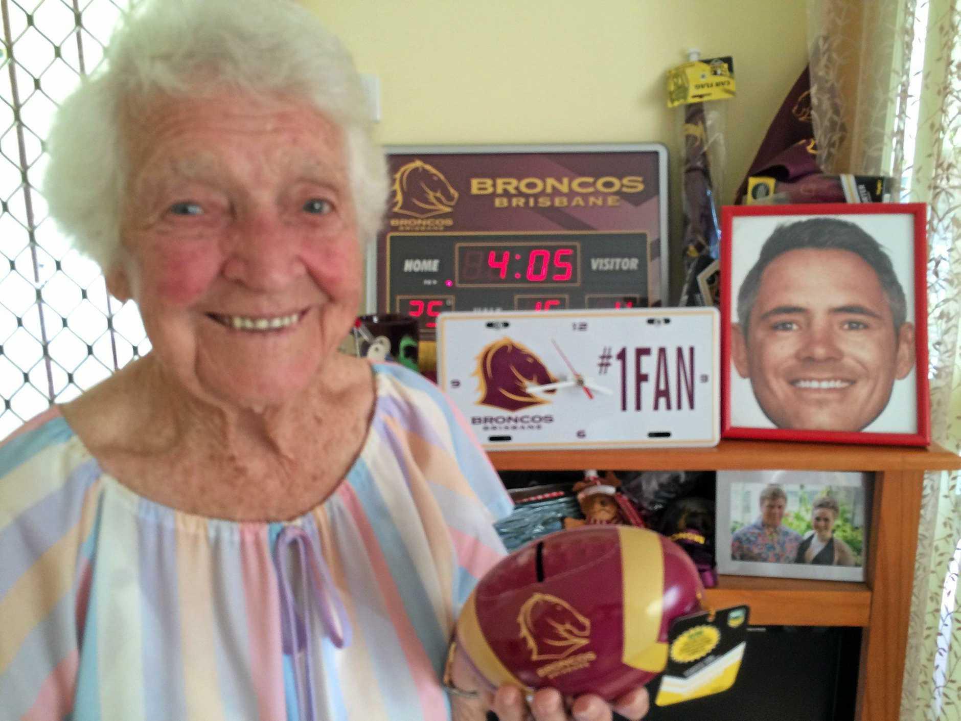 East Ipswich's Mabel Turvey celebrates her 100th birthday.