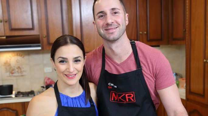 My Kitchen Rules contestants Lauren and Carmine.