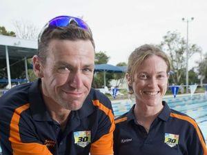 Triathletes on course