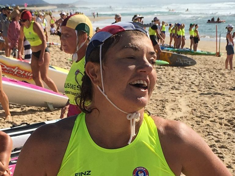 Jo Kay of Byron Bay, winner of the 45-49 years women's board race gold medal at the Aussies 2016 Masters championship.