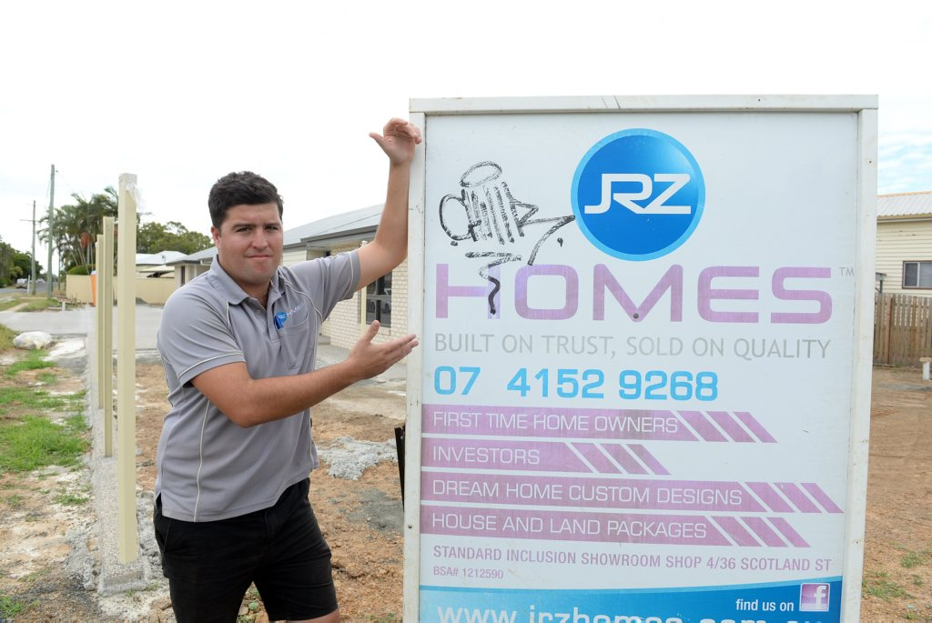 GRAFFITI TAGS: Jesse Zielke from JRZ homes would like to help the person who tagged his business. Photo: Paul Donaldson / NewsMail