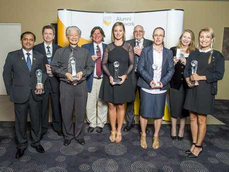 2015 USQ Alumnus of the Year winners and finalists: (from left) Priyantha Punchihewa, Andrew (Andy) Coles, Louis Liu, Bradley Daley, Caitlyn Gribbin, Anthony (Tony) McDonald, Amanda Able, Professor Lorraine Graham and Dr Maree Toombs.
