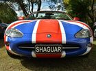 THE SHAGUAR: The Jaguar Drivers Club of Queensland stopped at Gunabul Homestead in Gympie yesterday. The 1997 XK-8 Jag belongs to Di and Roger Admason.