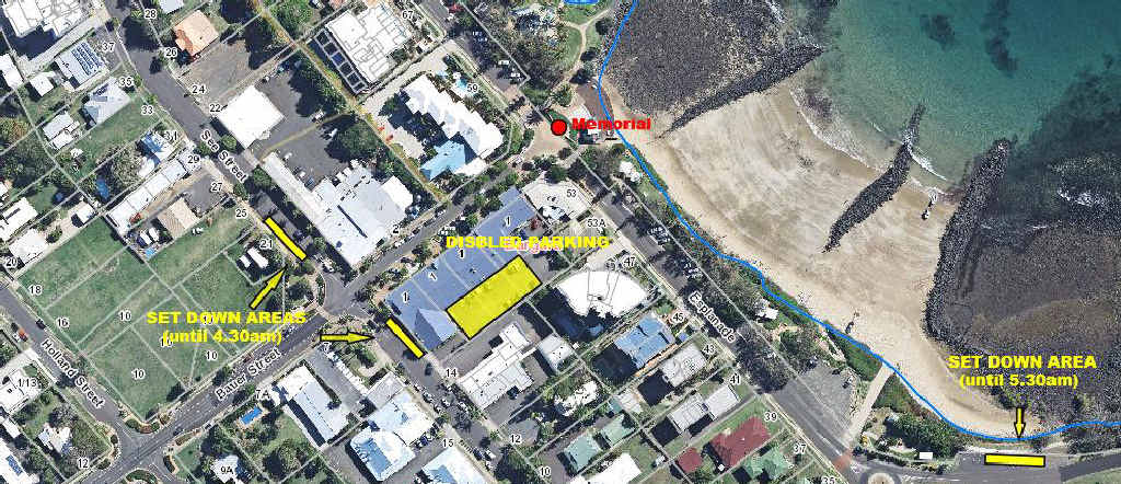 ANZAC DAY: This map shows where to park and set down passengers for the Dawn Service at Bargara.