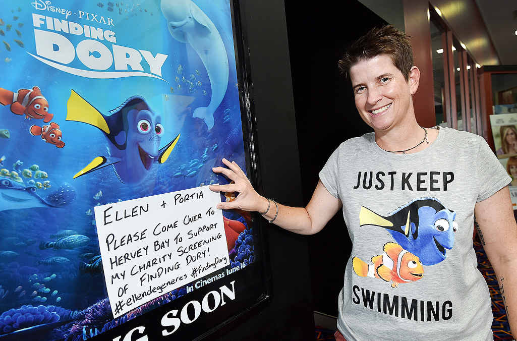 "FINDING DORY: Helen ""Eddie"" Edney with a sign asking Ellen DeGeneres to attend her charity movie screening in June."