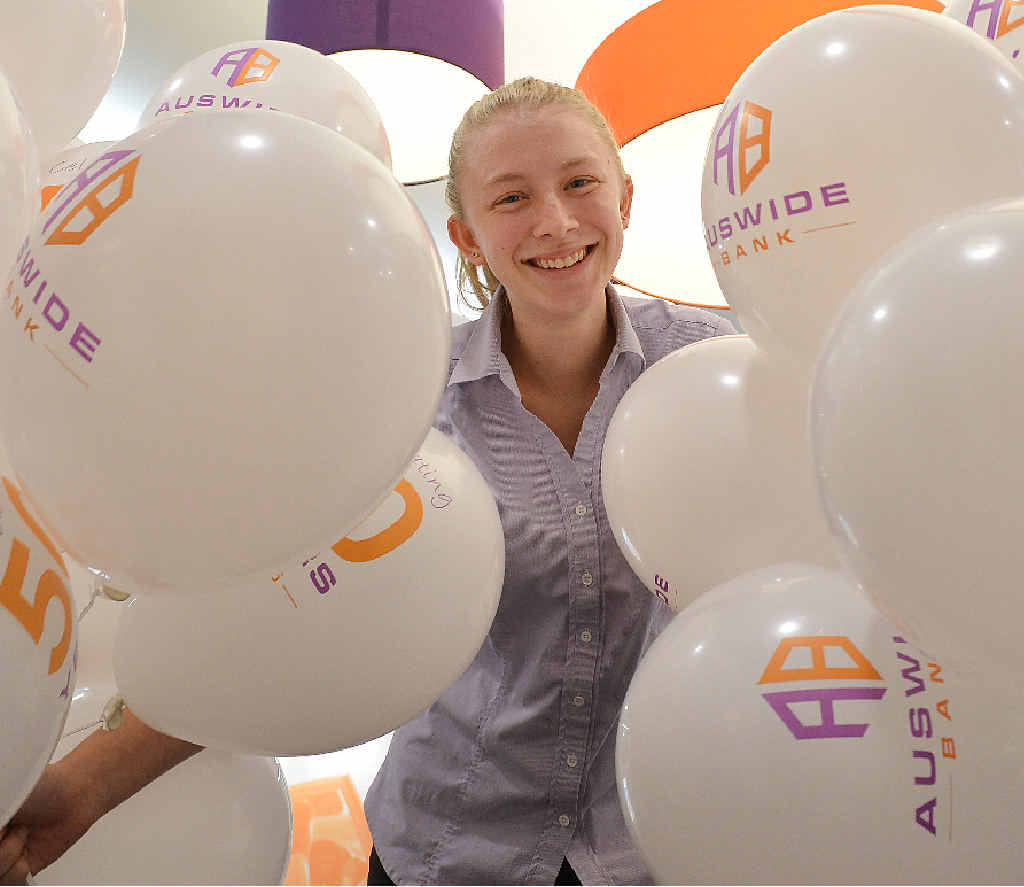 HALF CENTURY: Ebony Anderson gets into the birthday party spirit at Auswide Bank Gympie.