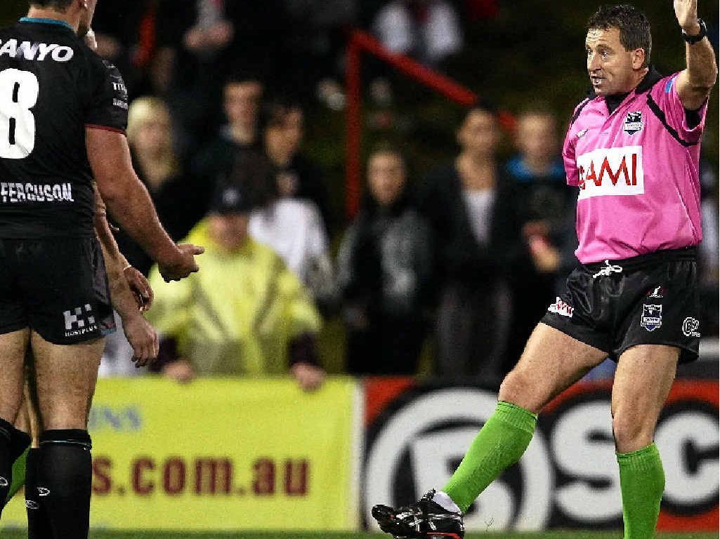 TIME FOR CHANGE: Referee Steve Lyons penalises and puts on report a Penrith player for a trip in a match in 2010.