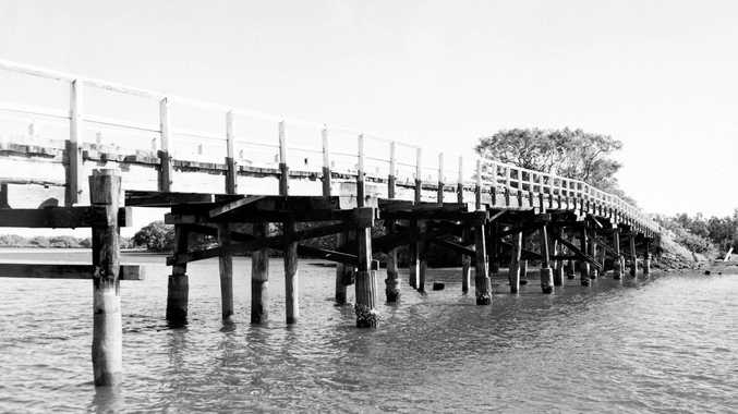 The Lennox Head Bridge on North Creek Road was abandoned in 1970. Photo The Northern Star Archives