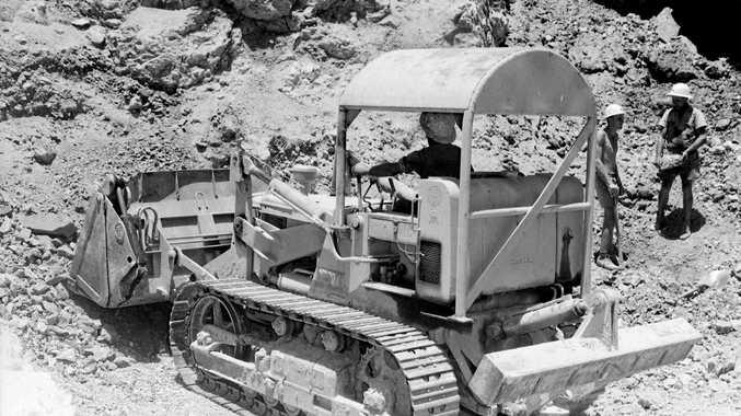 Copper mining in the hillside near Drake.