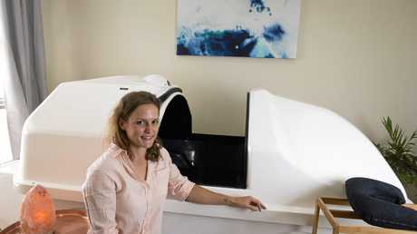 WORLDS AWAY: Vitality Society owner Miranda Mcilwraith with her float tank.