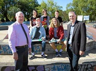 GUEST SPEAKERS: Red Frogs Toowoomba members Ebony McDonnell (from back left), Eve Hibbard and Tony Duff (second row from left) skaters Ben Kamst and Joel Cuff join Toowoomba Regional Council Mayor Paul Antonio (front left) and Mayoral Prayer Breakfast committee chair Andrew Hoey (front right) at the launch of the 2016 Mayoral Prayer Breakfast.