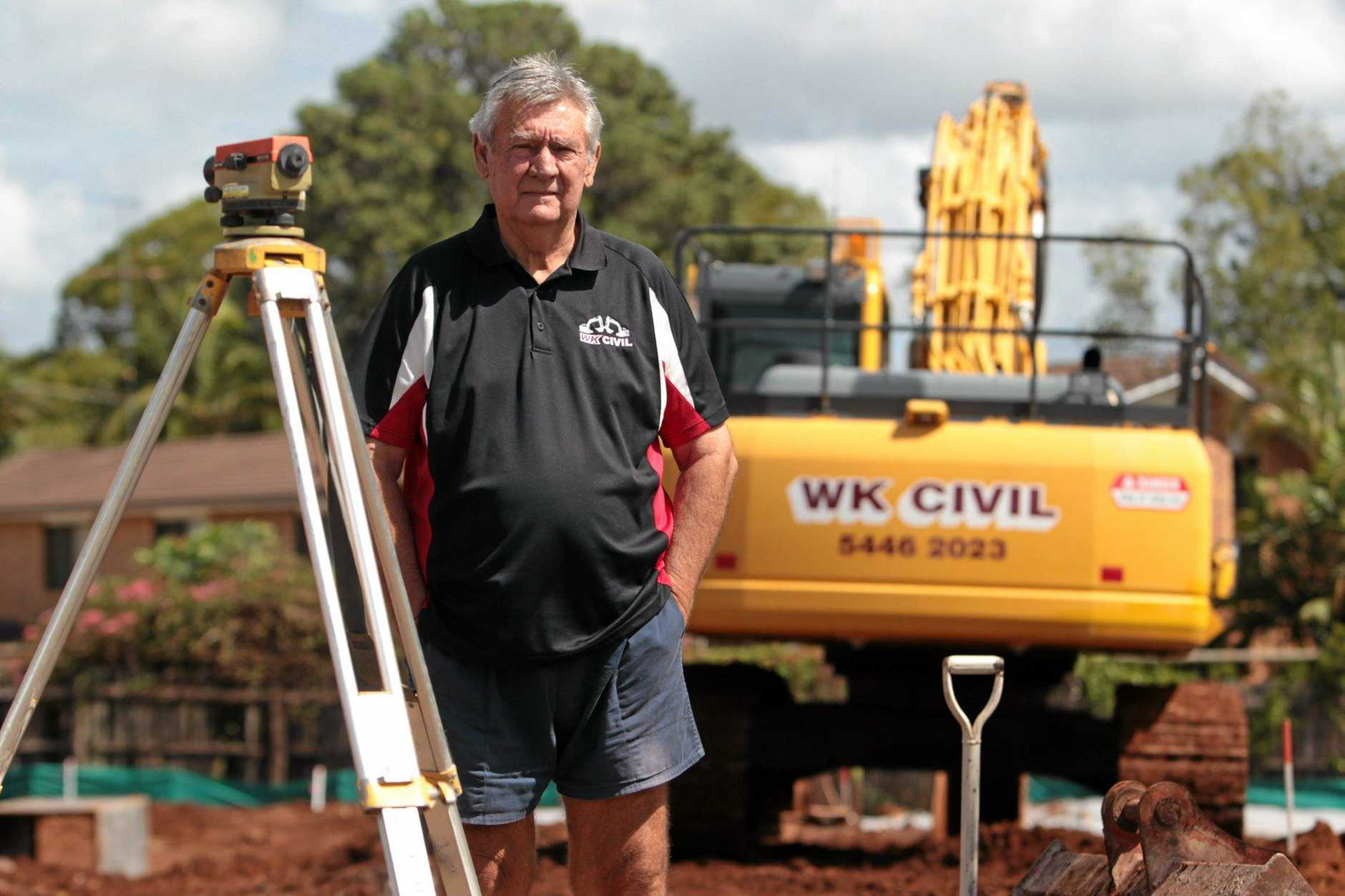 Les Williams from WK Civil is leading the fight to have sub-contractors paid for the work they did for collapsed builder Walton Constructions. Photo: Brett Wortman / Sunshine Coast Daily