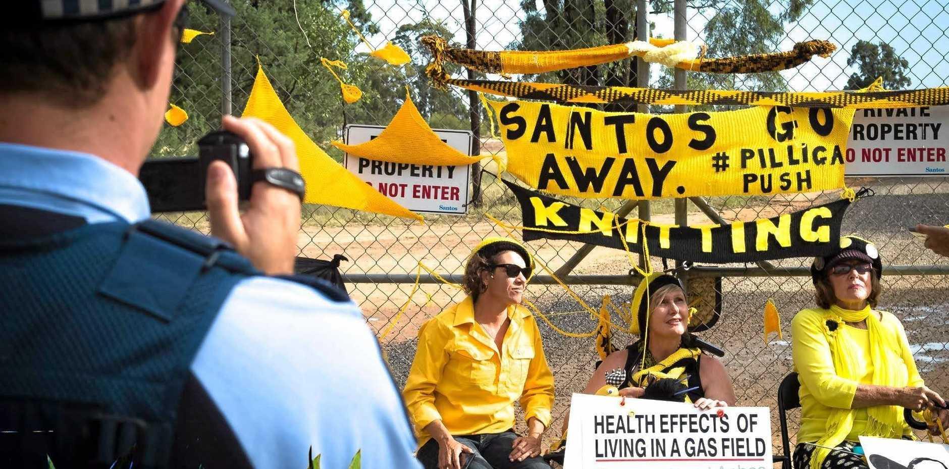 Knitting Nannas at the Santos coal seam gas mining operation at Pilliga, North West NSW.