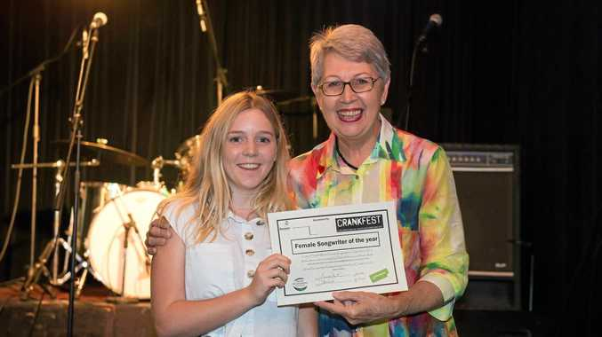 Female Young Songwriter of the Year, Hannah Parrington, is presented with her award.