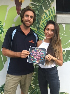 Corey (no surname supplied) and Chris Evans were the winners of last week's Splendour Twitter Hunt in Byron Bay.