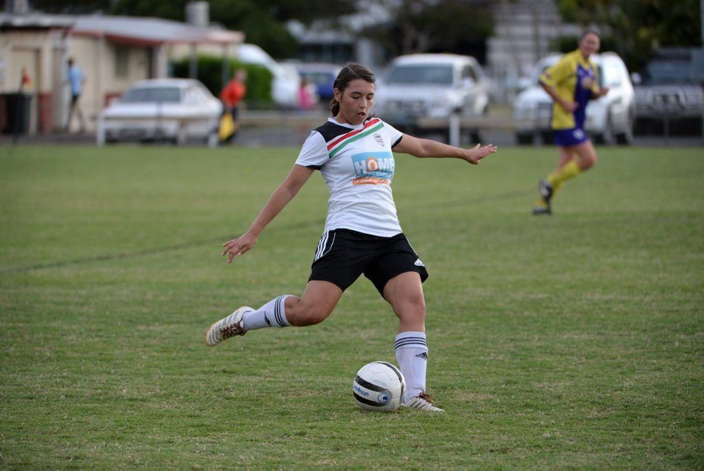 SOCCER: United Park Eagles player Leticia Maxey-Fisher at Martens Oval. Photo: Mike Knott / NewsMail