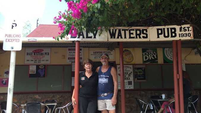 Robyne Webster and Lindsay Carmichael outside the iconic Daly Water Pub. After 17 years running the Outback way station the couple are planning to retire and the unique piece of Australiana that is known worldwide is on the market.