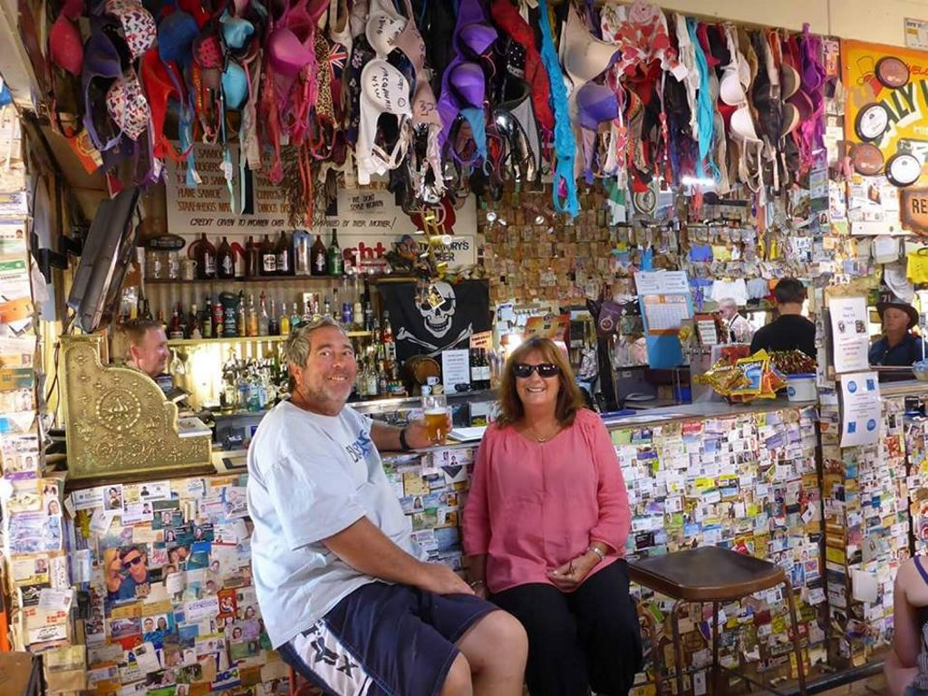 This couple got a close look at the type of memorabilia that many travellers leave behind at the Daly Waters Pub