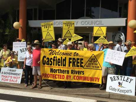 Gasfield Free Northern Rivers protesters outside Lismore City Council chambers in Goonellabah this morning.