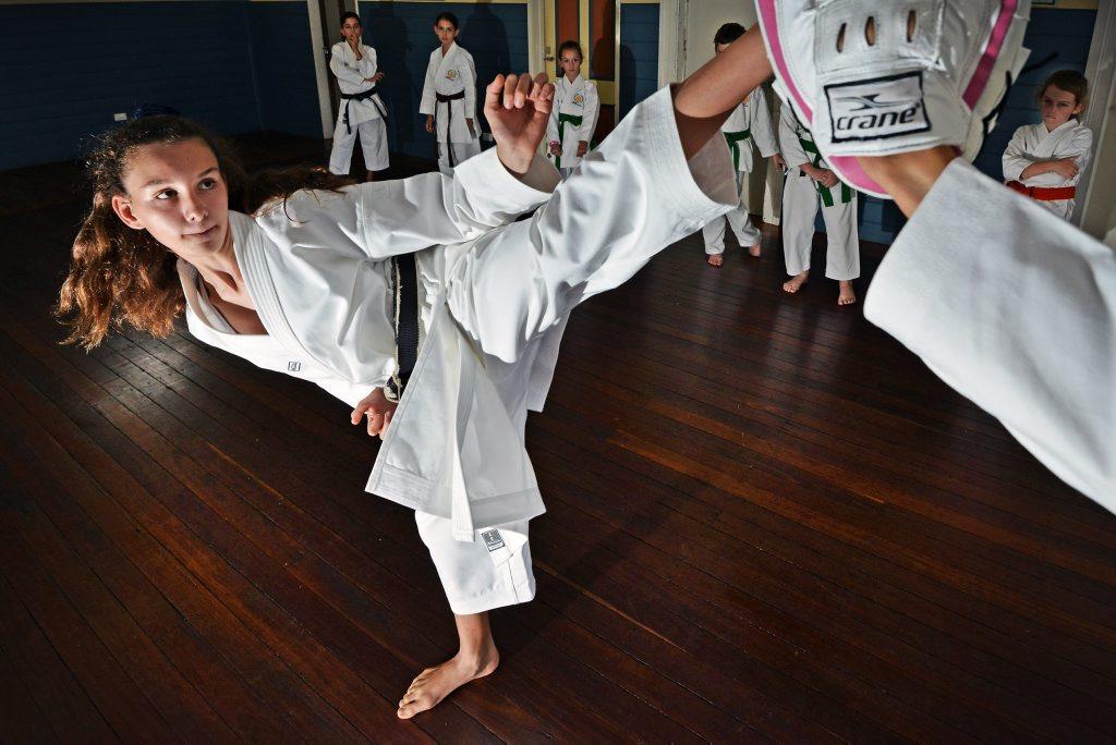 POWER: Daria Mostofizadeh with a high kick.