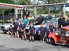 Wide Bay Rodders with Pialba State School students. Photo: Alistair Brightman / Fraser Coast Chronicle